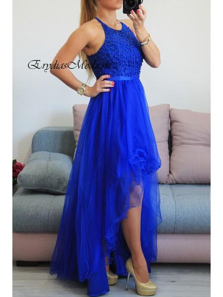 Asymetrické spoločenské šaty s perličkami 9188