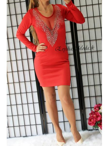 Červené šaty s kamienkami 24691