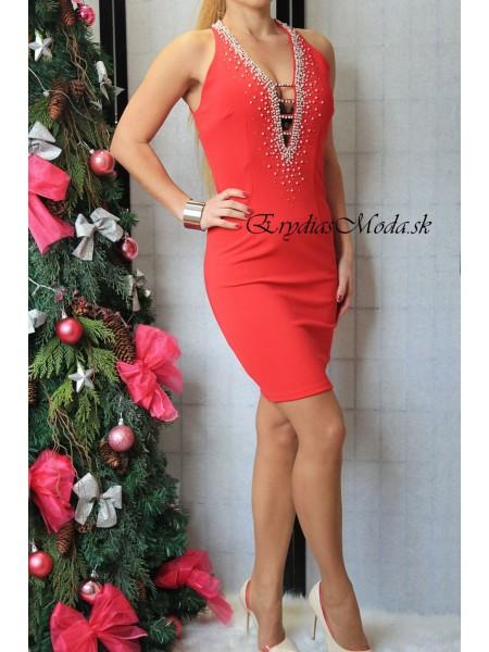 Červené šaty s kamienkami Sofia 15938
