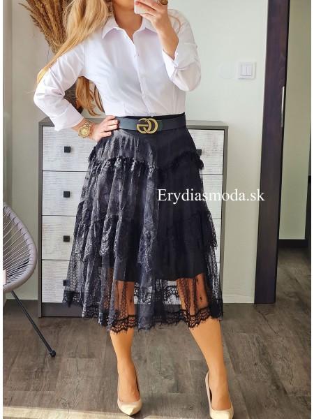 Krajková čierna midi sukňa J50071