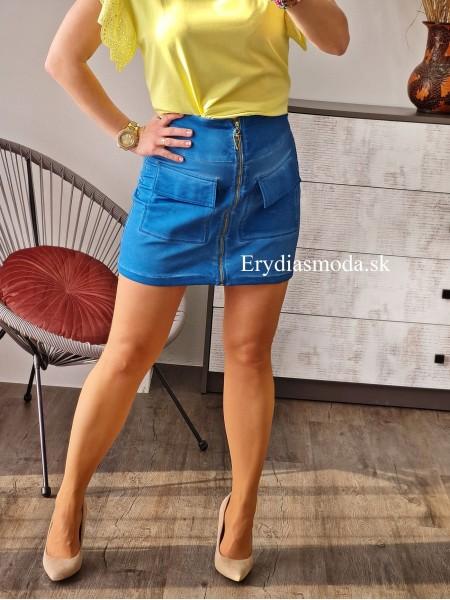 Áčková sukňa so zipsom modrá 5625