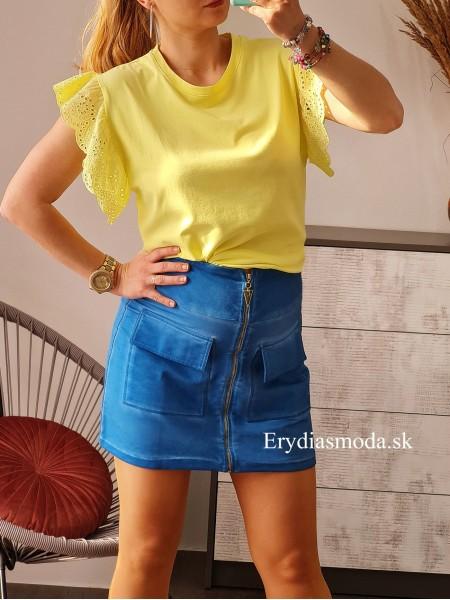 Blúzka s krajkovými rukávmi Dalmacia žltá 5642