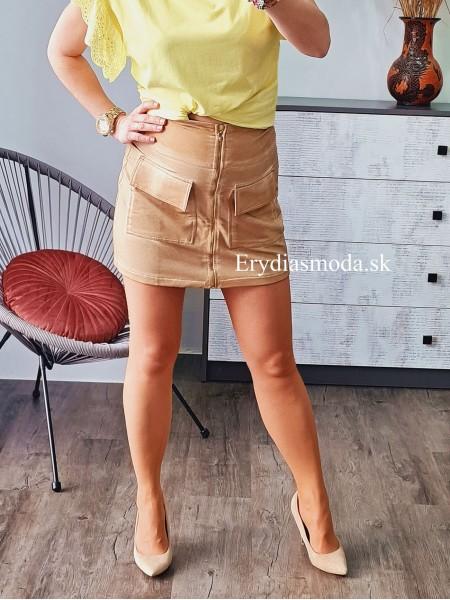 Áčková sukňa so zipsom hnedá 5625