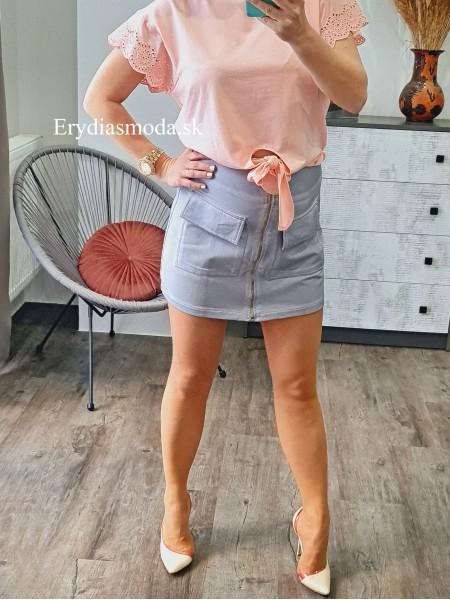 Áčková sukňa so zipsom sivá 5625