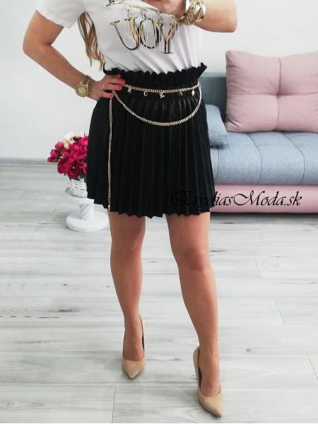 Koženková plisovaná sukňa Hollywood čierna 2285