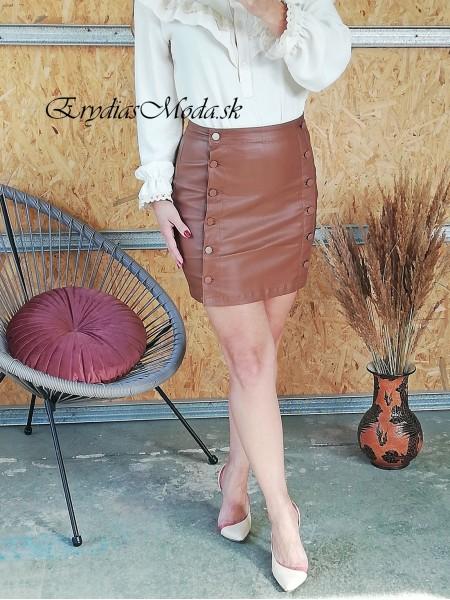 Koženková hnedá mini sukňa Naumy NA571