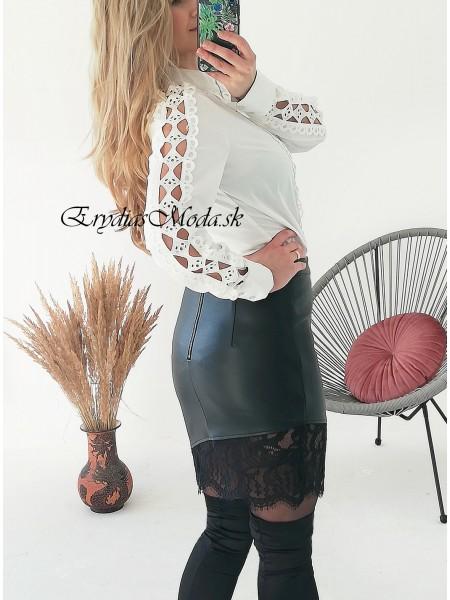 Čierna koženková sukňa s krajkou SK802