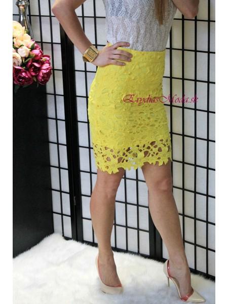Sukňa žltá krajková Rosa