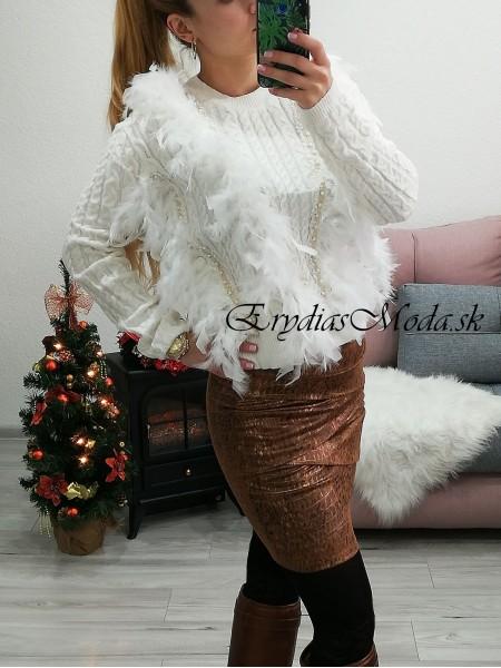 Biely jemný pulóver s pierkami MCY01985
