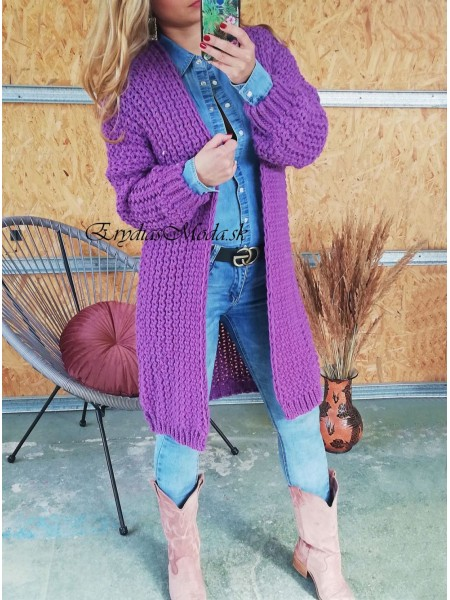 Kardigán pletený fialový Monroe 3988