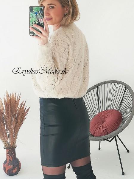 Dierkovaný sveter Locco krémový Y721