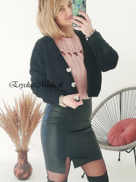 Dierkovaný sveter Locco čierny Y721