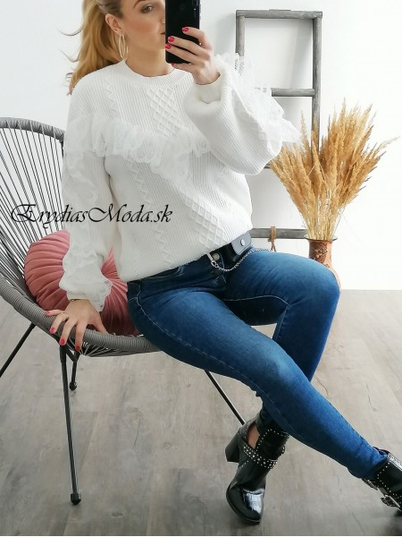 Biely pulóver s krajkou Rosato YQ403